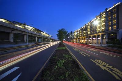 壁纸 道路 高速 高速公路 公路 夜景 桌面 399_266图片